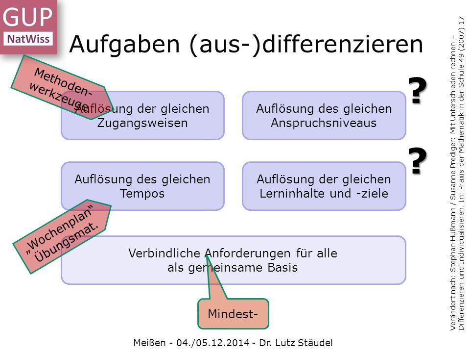 Aufgaben (aus-)differenzieren Meißen - 04./05.12.2014 - Dr. Lutz Stäudel Verändert nach: Stephan Hußmann / Susanne Prediger: Mit Unterschieden rechnen