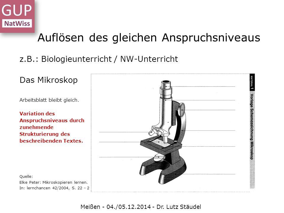 Auflösen des gleichen Anspruchsniveaus Meißen - 04./05.12.2014 - Dr. Lutz Stäudel z.B.: Biologieunterricht / NW-Unterricht Das Mikroskop Arbeitsblatt