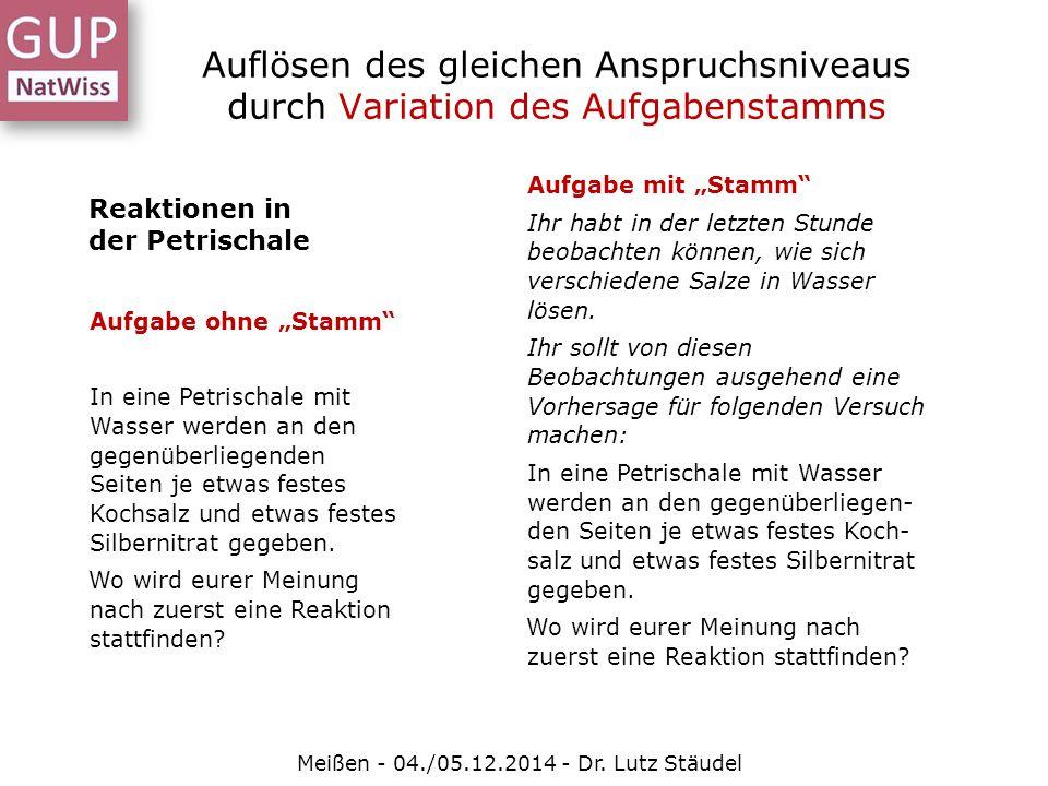 Auflösen des gleichen Anspruchsniveaus durch Variation des Aufgabenstamms Meißen - 04./05.12.2014 - Dr. Lutz Stäudel Reaktionen in der Petrischale Auf