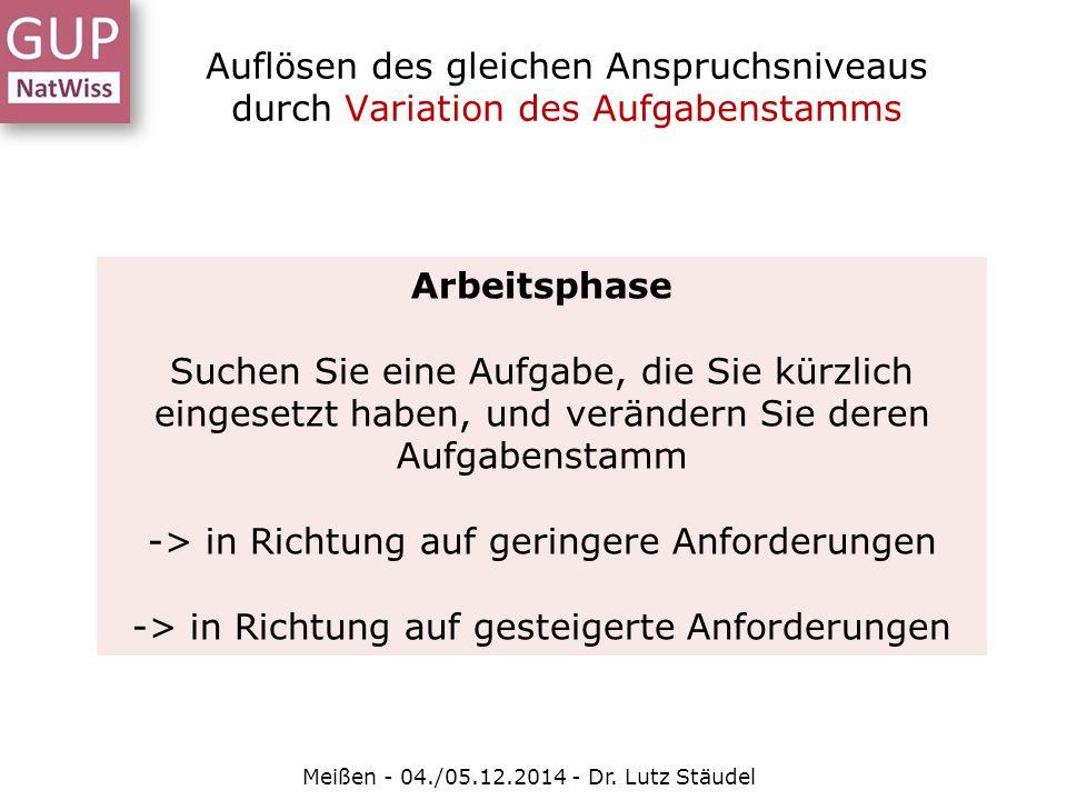 Auflösen des gleichen Anspruchsniveaus durch Variation des Aufgabenstamms Meißen - 04./05.12.2014 - Dr. Lutz Stäudel Arbeitsphase Suchen Sie eine Aufg