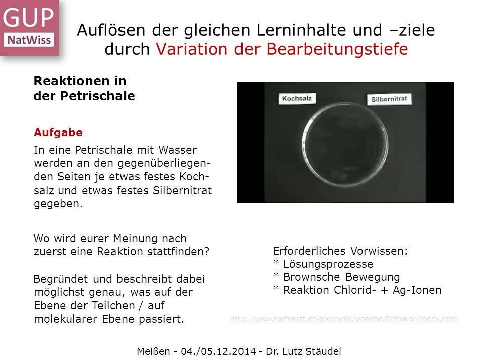 Auflösen der gleichen Lerninhalte und –ziele durch Variation der Bearbeitungstiefe Meißen - 04./05.12.2014 - Dr. Lutz Stäudel Reaktionen in der Petris