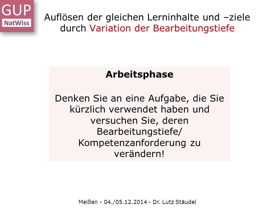 Auflösen der gleichen Lerninhalte und –ziele durch Variation der Bearbeitungstiefe Meißen - 04./05.12.2014 - Dr. Lutz Stäudel Arbeitsphase Denken Sie