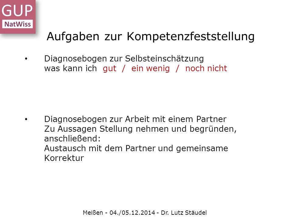 Aufgaben zur Kompetenzfeststellung Meißen - 04./05.12.2014 - Dr. Lutz Stäudel Diagnosebogen zur Selbsteinschätzung was kann ich gut / ein wenig / noch
