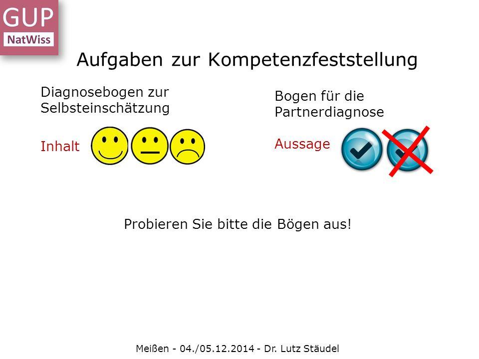 Aufgaben zur Kompetenzfeststellung Meißen - 04./05.12.2014 - Dr. Lutz Stäudel Diagnosebogen zur Selbsteinschätzung Inhalt Bogen für die Partnerdiagnos