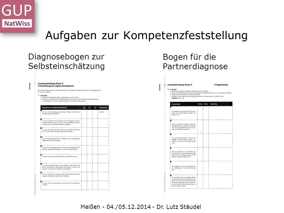 Aufgaben zur Kompetenzfeststellung Meißen - 04./05.12.2014 - Dr. Lutz Stäudel Diagnosebogen zur Selbsteinschätzung Bogen für die Partnerdiagnose
