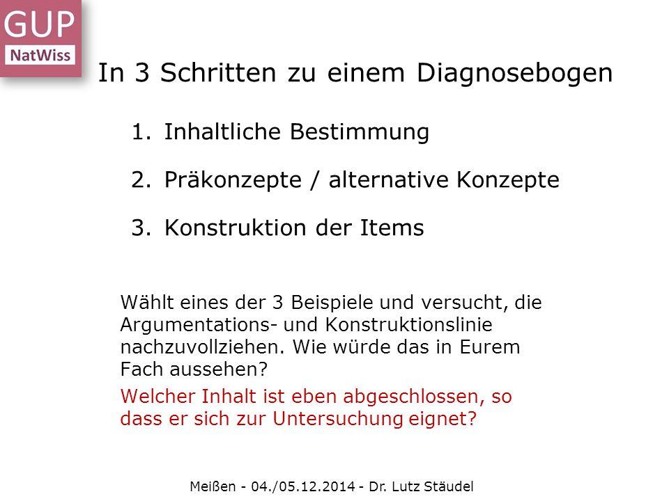 In 3 Schritten zu einem Diagnosebogen 1.Inhaltliche Bestimmung 2.Präkonzepte / alternative Konzepte 3.Konstruktion der Items Meißen - 04./05.12.2014 -