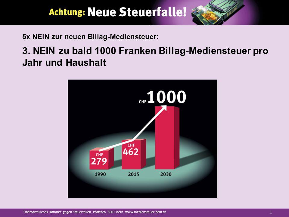 3. NEIN zu bald 1000 Franken Billag-Mediensteuer pro Jahr und Haushalt Überparteiliches Komitee gegen Steuerfallen, Postfach, 3001 Bern www.mediensteu
