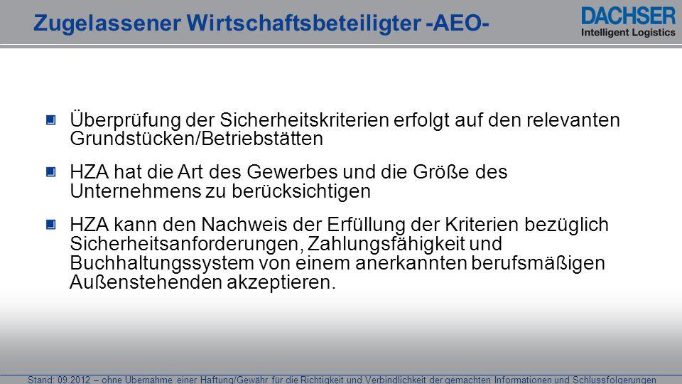 Stand: 09.2012 – ohne Übernahme einer Haftung/Gewähr für die Richtigkeit und Verbindlichkeit der gemachten Informationen und Schlussfolgerungen Überpr
