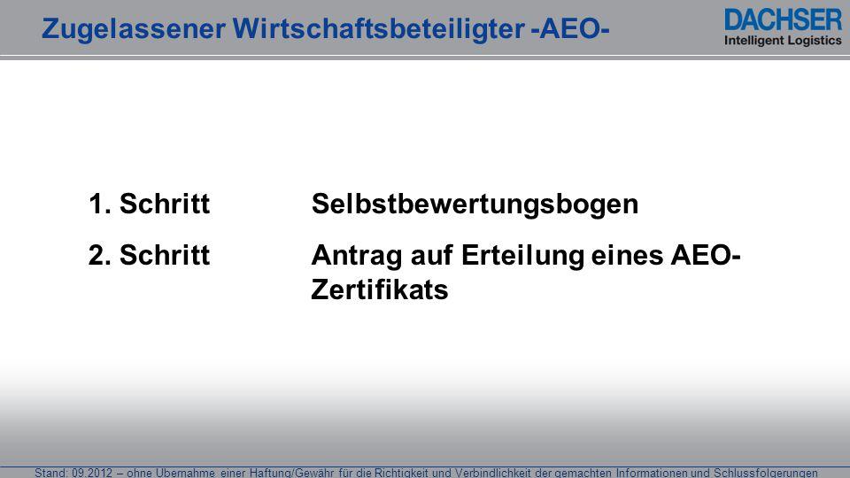 Stand: 09.2012 – ohne Übernahme einer Haftung/Gewähr für die Richtigkeit und Verbindlichkeit der gemachten Informationen und Schlussfolgerungen Erteilung der Bewilligung Zugelassener Wirtschaftsbeteiligter -AEO-