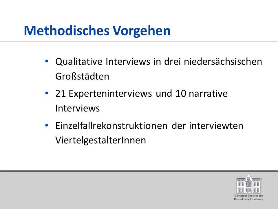 Methodisches Vorgehen Qualitative Interviews in drei niedersächsischen Großstädten 21 Experteninterviews und 10 narrative Interviews Einzelfallrekonstruktionen der interviewten ViertelgestalterInnen