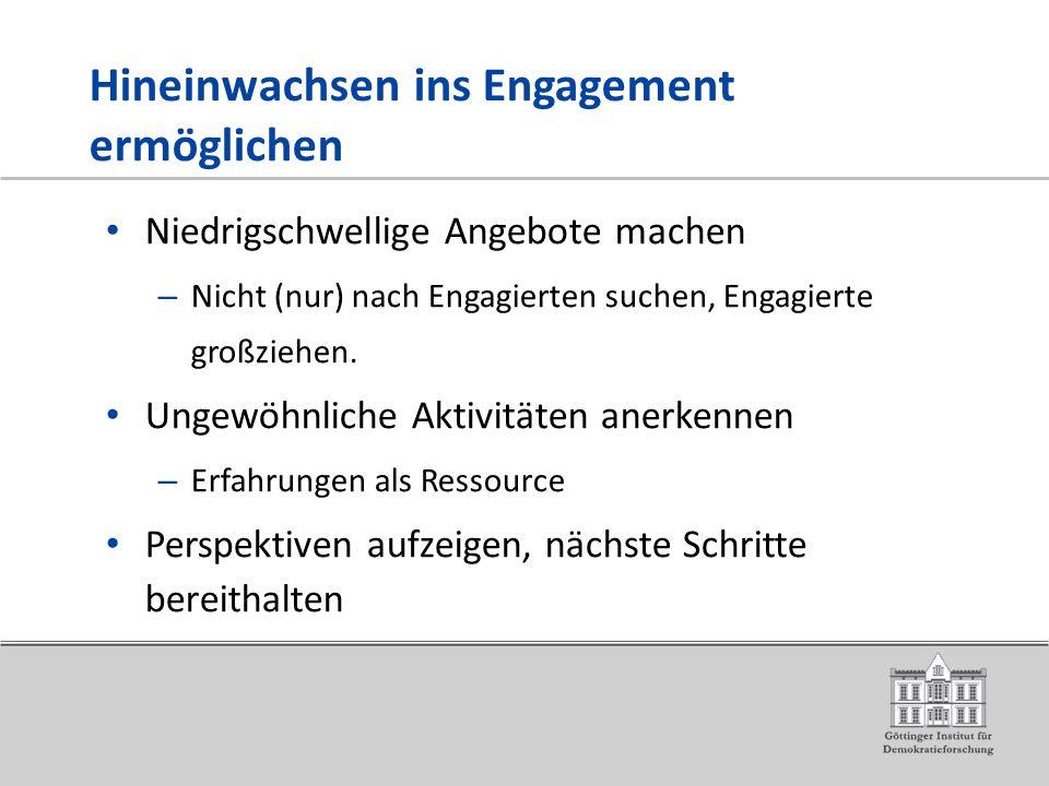 Hineinwachsen ins Engagement ermöglichen Niedrigschwellige Angebote machen – Nicht (nur) nach Engagierten suchen, Engagierte großziehen.
