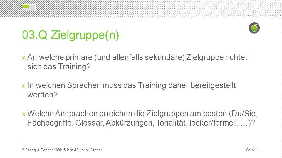 Titelmasterformat durch Klicken bearbeiten Erste Ebene  Zweite Ebene Dritte Ebene Seite 11 © Steag & Partner AG – 03.Q Zielgruppe(n)  An welche primäre (und allenfalls sekundäre) Zielgruppe richtet sich das Training.