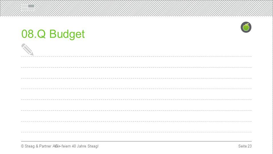 Titelmasterformat durch Klicken bearbeiten Erste Ebene  Zweite Ebene Dritte Ebene Seite 23 © Steag & Partner AG – 08.Q Budget Wir feiern 40 Jahre Steag!