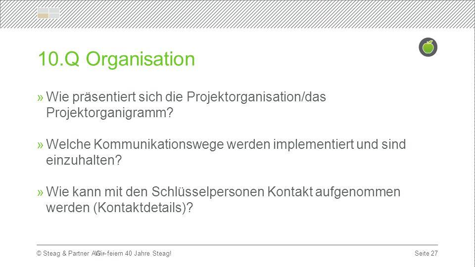 Titelmasterformat durch Klicken bearbeiten Erste Ebene  Zweite Ebene Dritte Ebene Seite 27 © Steag & Partner AG – 10.Q Organisation  Wie präsentiert sich die Projektorganisation/das Projektorganigramm.