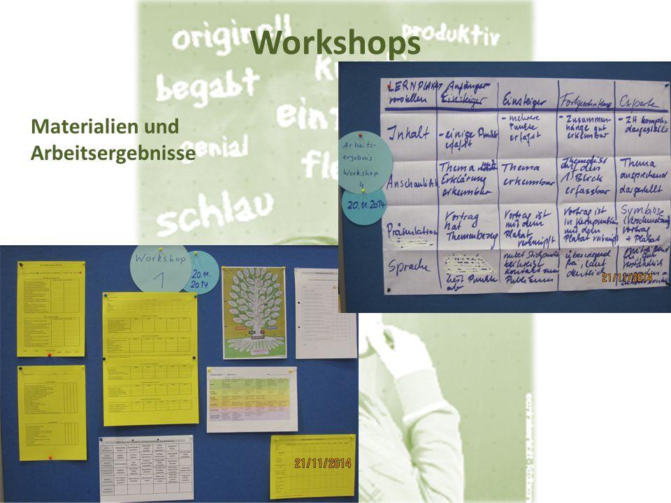 Workshops Materialien und Arbeitsergebnisse