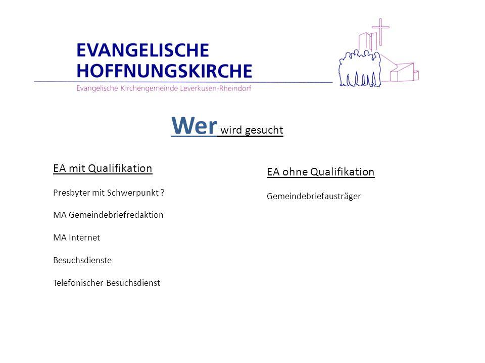 EA mit Qualifikation Presbyter mit Schwerpunkt ? MA Gemeindebriefredaktion MA Internet Besuchsdienste Telefonischer Besuchsdienst EA ohne Qualifikatio