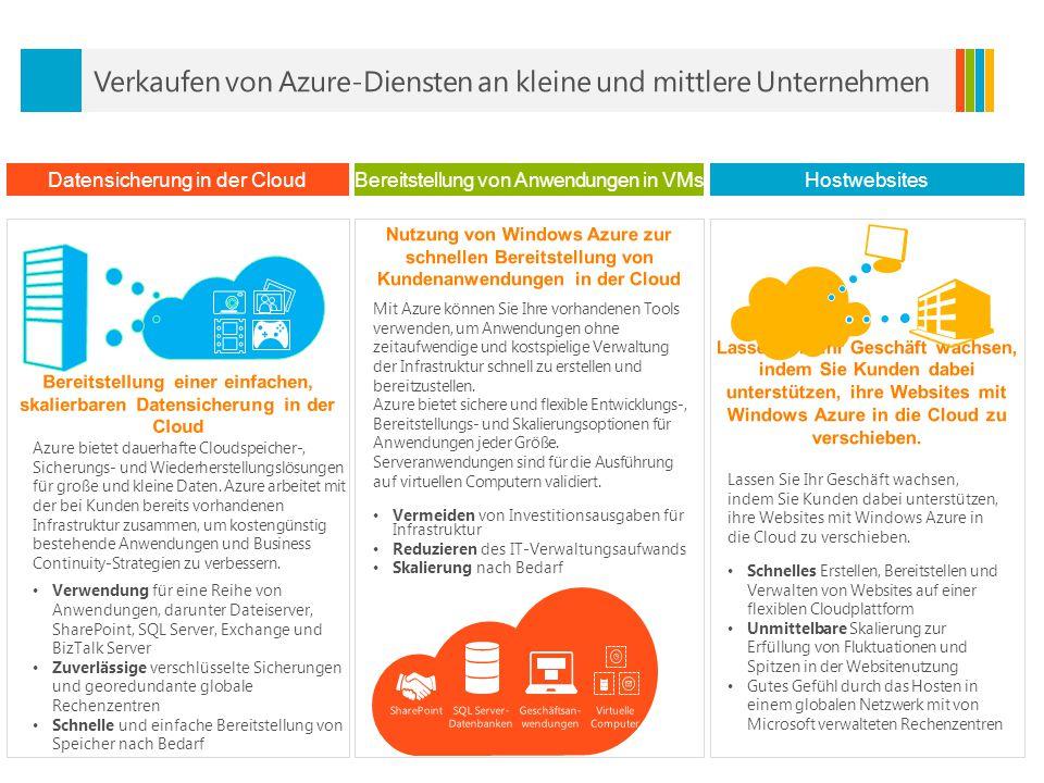 Datensicherung in der CloudBereitstellung von Anwendungen in VMs Hostwebsites Azure bietet dauerhafte Cloudspeicher-, Sicherungs- und Wiederherstellungslösungen für große und kleine Daten.