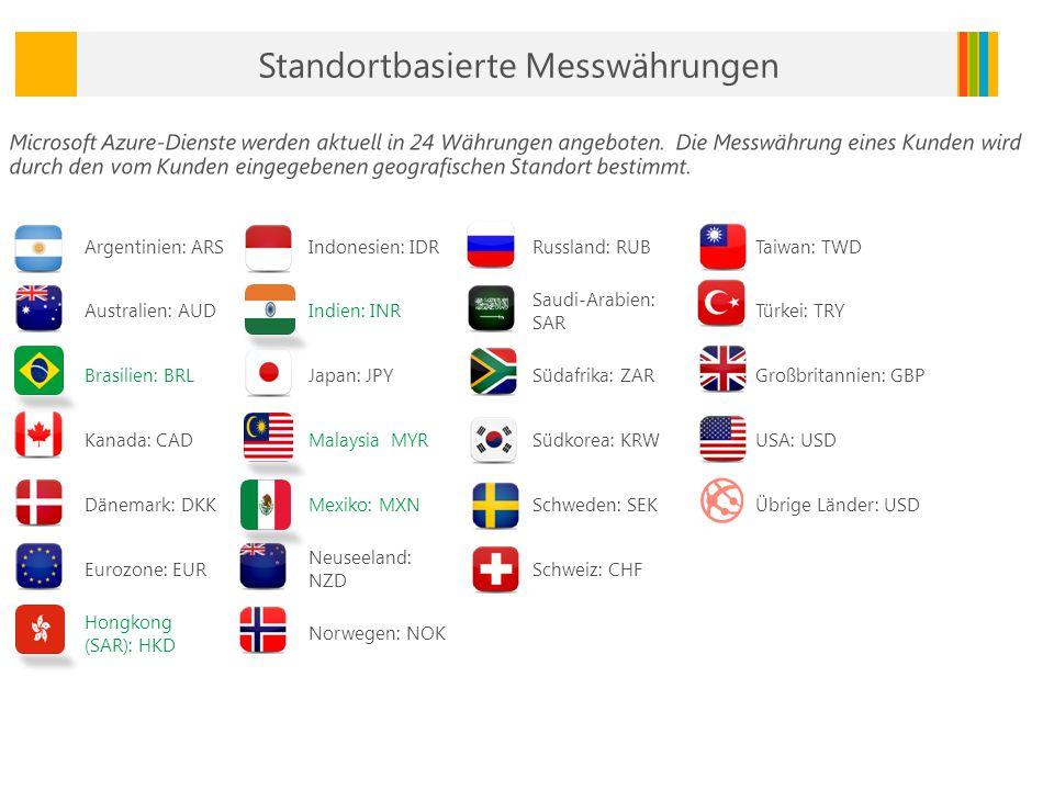Argentinien: ARSIndonesien: IDRRussland: RUBTaiwan: TWD Australien: AUDIndien: INR Saudi-Arabien: SAR Türkei: TRY Brasilien: BRLJapan: JPYSüdafrika: ZARGroßbritannien: GBP Kanada: CADMalaysia MYRSüdkorea: KRWUSA: USD Dänemark: DKKMexiko: MXNSchweden: SEKÜbrige Länder: USD Eurozone: EUR Neuseeland: NZD Schweiz: CHF Hongkong (SAR): HKD Norwegen: NOK