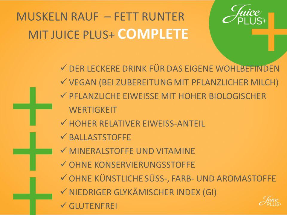 MUSKELN RAUF – FETT RUNTER MIT JUICE PLUS+ COMPLETE DER LECKERE DRINK FÜR DAS EIGENE WOHLBEFINDEN VEGAN (BEI ZUBEREITUNG MIT PFLANZLICHER MILCH) PFLAN