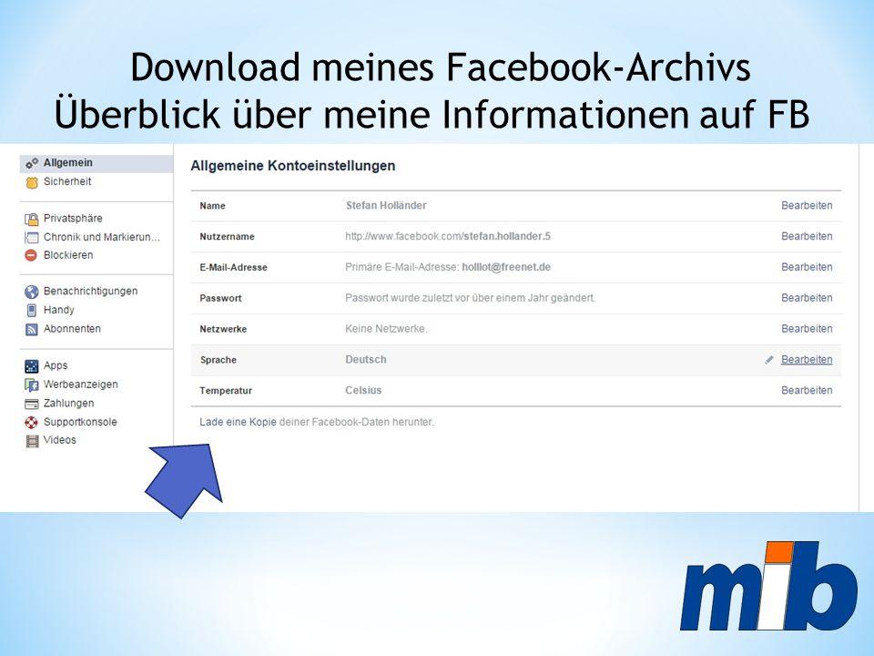 Download meines Facebook-Archivs Überblick über meine Informationen auf FB