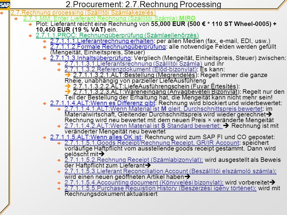 Inhalt der Übung Hausaufgaben überprüfen 2: Kaufinfosatz 2.Beschaffungszenario (Fortgesetzt) 2.7.Rechnung bearbeiten 2.7.1.MM:Eingangsrechnung hinzuf.