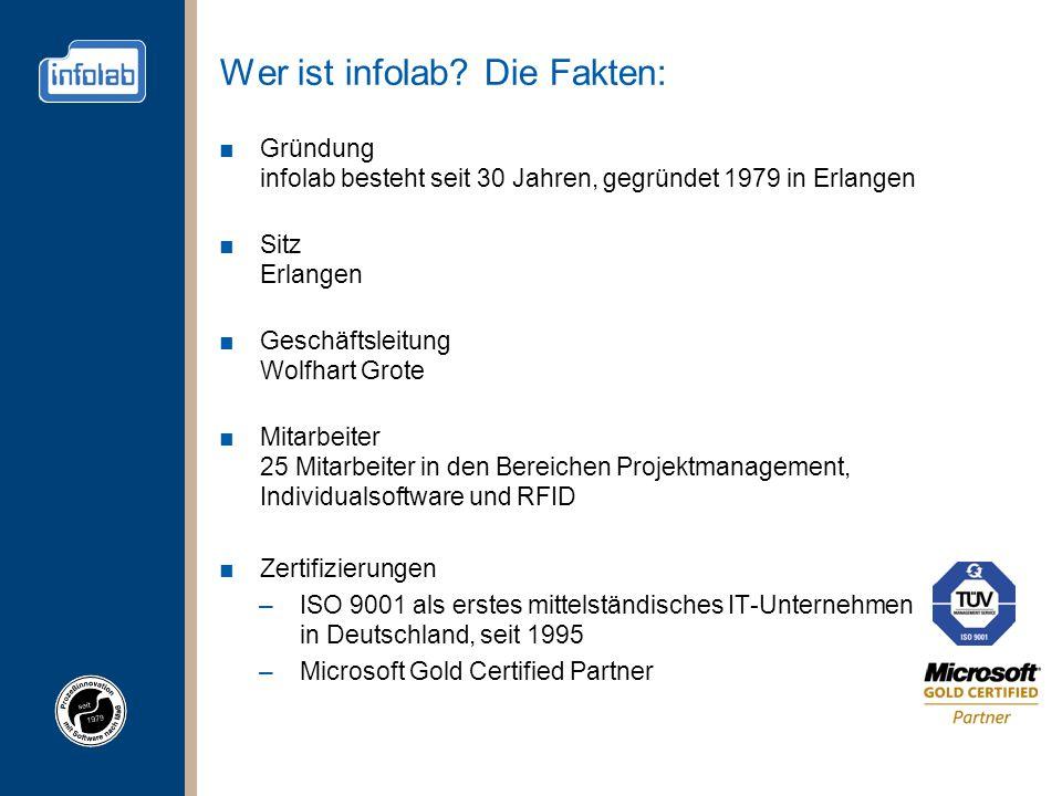 Wer ist infolab? Die Fakten: ■Gründung infolab besteht seit 30 Jahren, gegründet 1979 in Erlangen ■Sitz Erlangen ■Geschäftsleitung Wolfhart Grote ■Mit