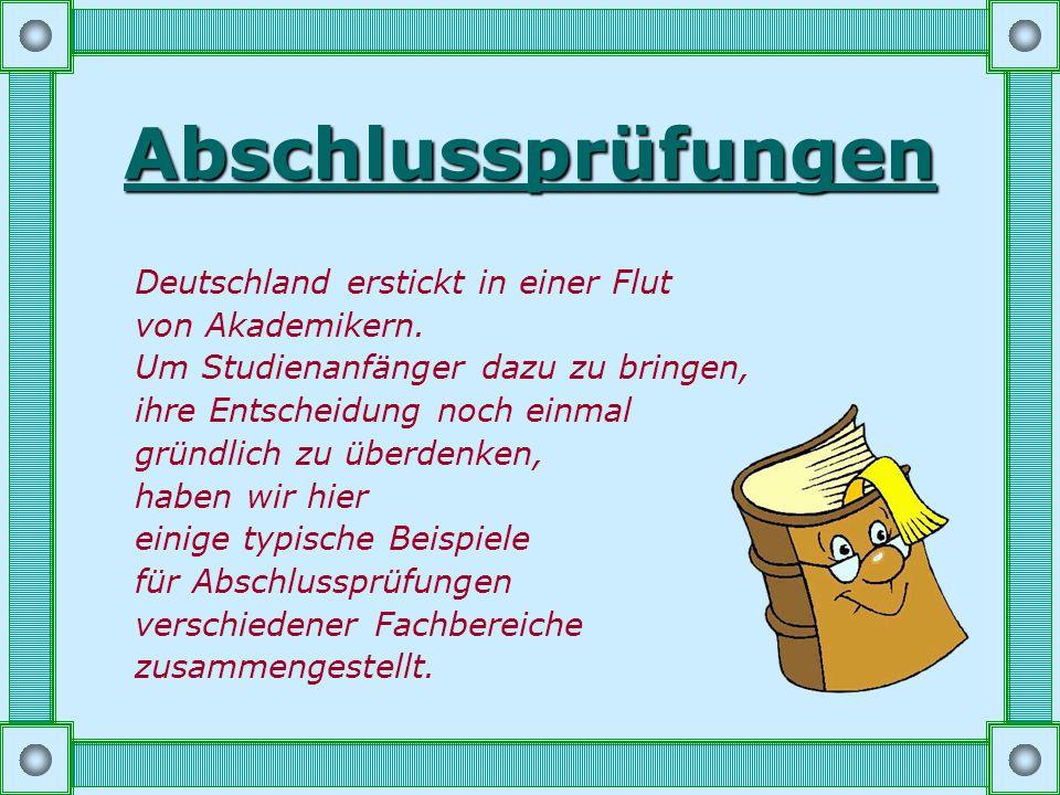 Abschlussprüfungen Deutschland erstickt in einer Flut von Akademikern.