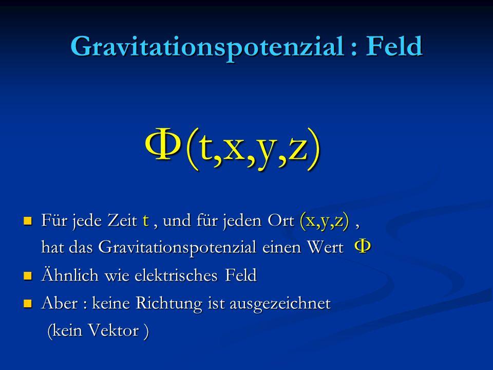Gravitationspotenzial : Feld Φ(t,x,y,z) Φ(t,x,y,z) Für jede Zeit t, und für jeden Ort (x,y,z), hat das Gravitationspotenzial einen Wert Φ Für jede Zei