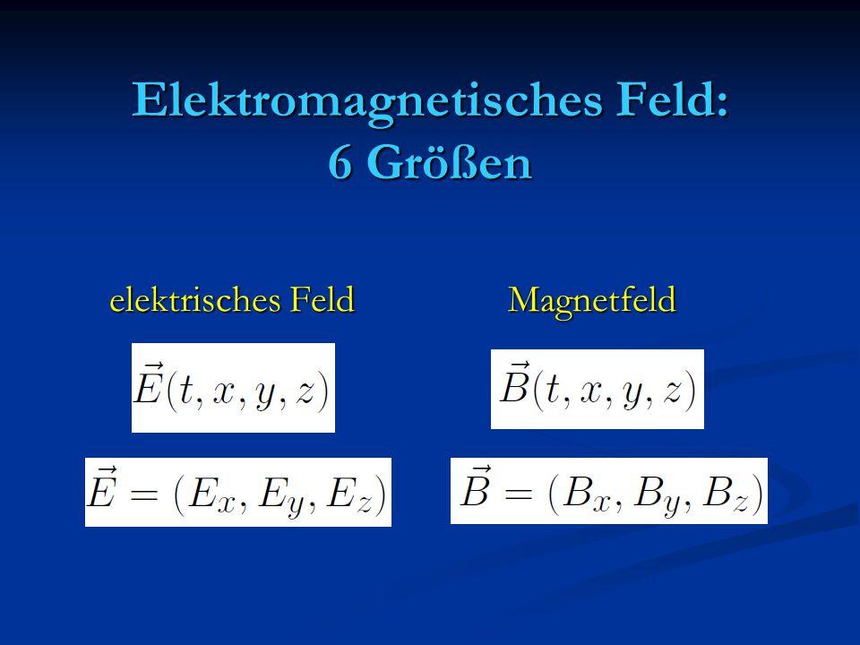 Elektromagnetisches Feld: 6 Größen elektrisches Feld Magnetfeld elektrisches Feld Magnetfeld