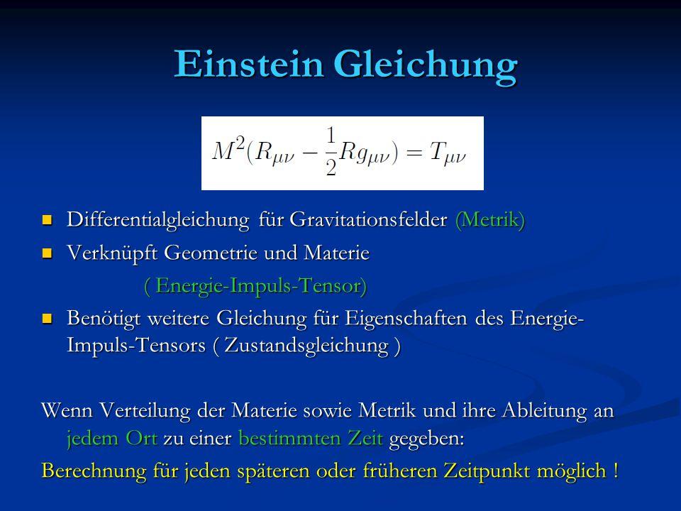 Einstein Gleichung Einstein Gleichung Differentialgleichung für Gravitationsfelder (Metrik) Differentialgleichung für Gravitationsfelder (Metrik) Verk