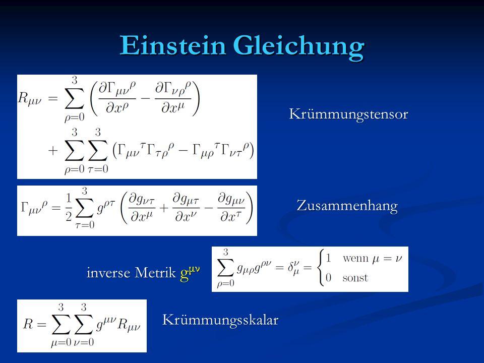 Einstein Gleichung Krümmungstensor Zusammenhang inverse Metrik g μν Krümmungsskalar