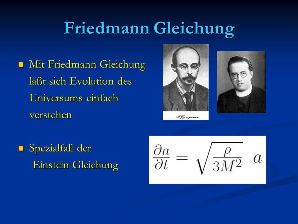 Friedmann Gleichung Mit Friedmann Gleichung Mit Friedmann Gleichung läßt sich Evolution des läßt sich Evolution des Universums einfach Universums einf