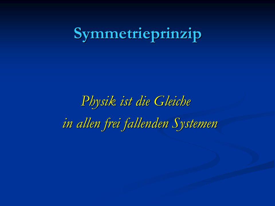 Symmetrieprinzip Physik ist die Gleiche Physik ist die Gleiche in allen frei fallenden Systemen in allen frei fallenden Systemen