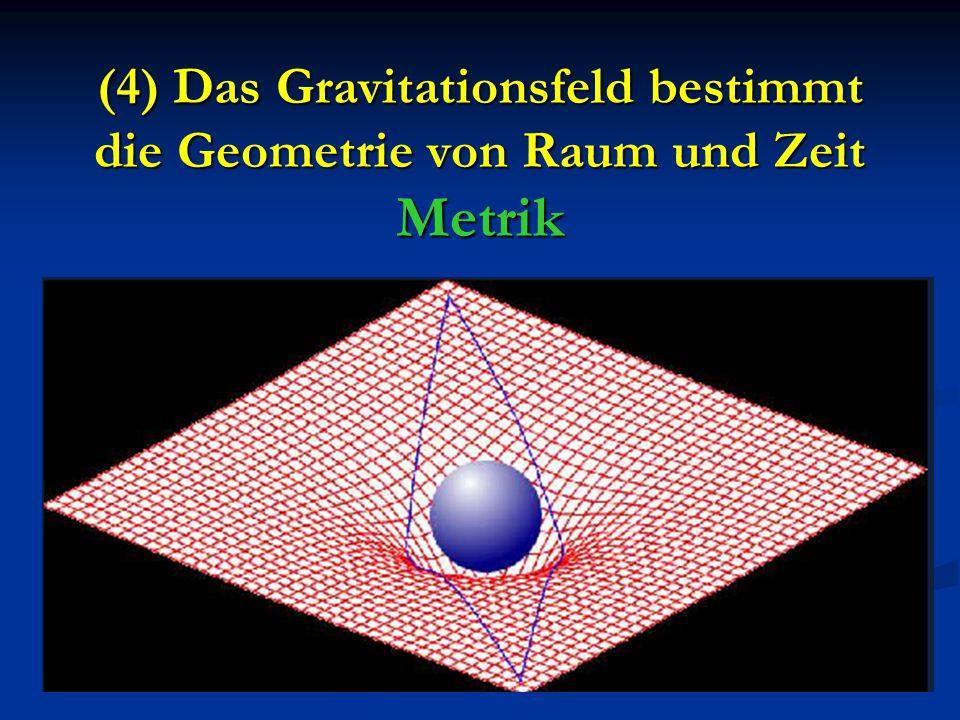 (4) Das Gravitationsfeld bestimmt die Geometrie von Raum und Zeit Metrik