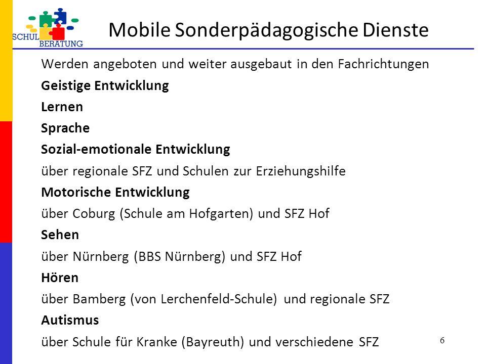 Standorte des MSD in Oberfranken nach Förderschwerpunkten Lernen Sprache Verhalten Hören Autismus Sehen Berufliche Bildung Geistige Entwickl.