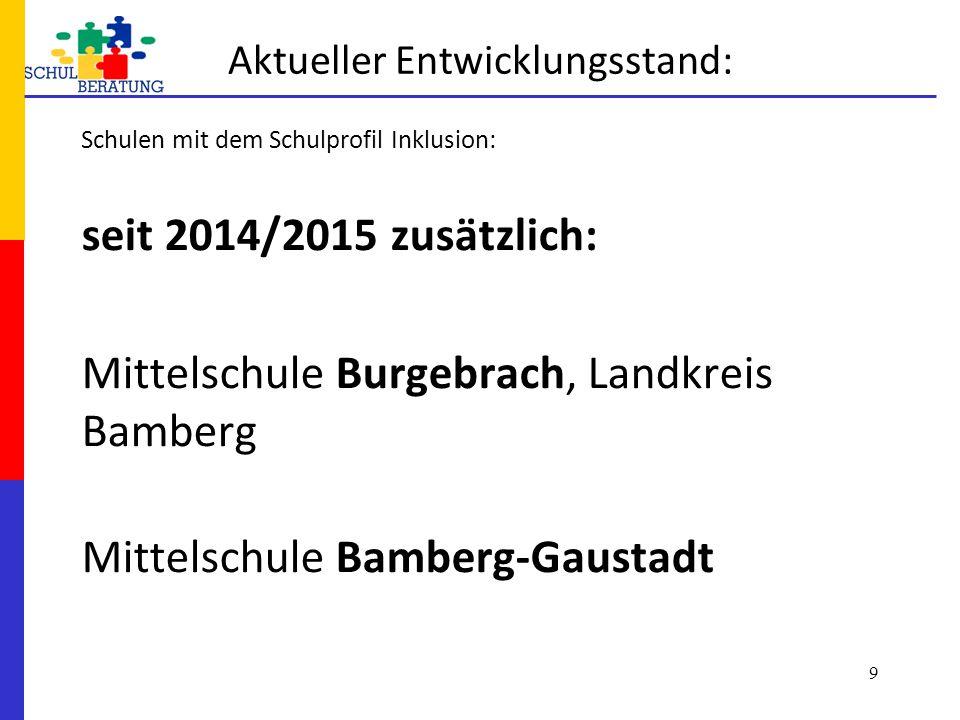 Aktueller Entwicklungsstand: Schulen mit dem Schulprofil Inklusion: seit 2014/2015 zusätzlich: Mittelschule Burgebrach, Landkreis Bamberg Mittelschule Bamberg-Gaustadt 9