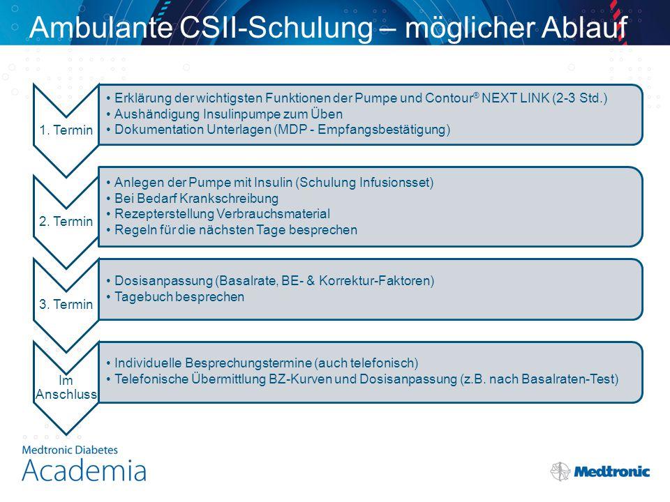Ambulante CSII-Schulung – möglicher Ablauf 1. Termin Erklärung der wichtigsten Funktionen der Pumpe und Contour ® NEXT LINK (2-3 Std.) Aushändigung In