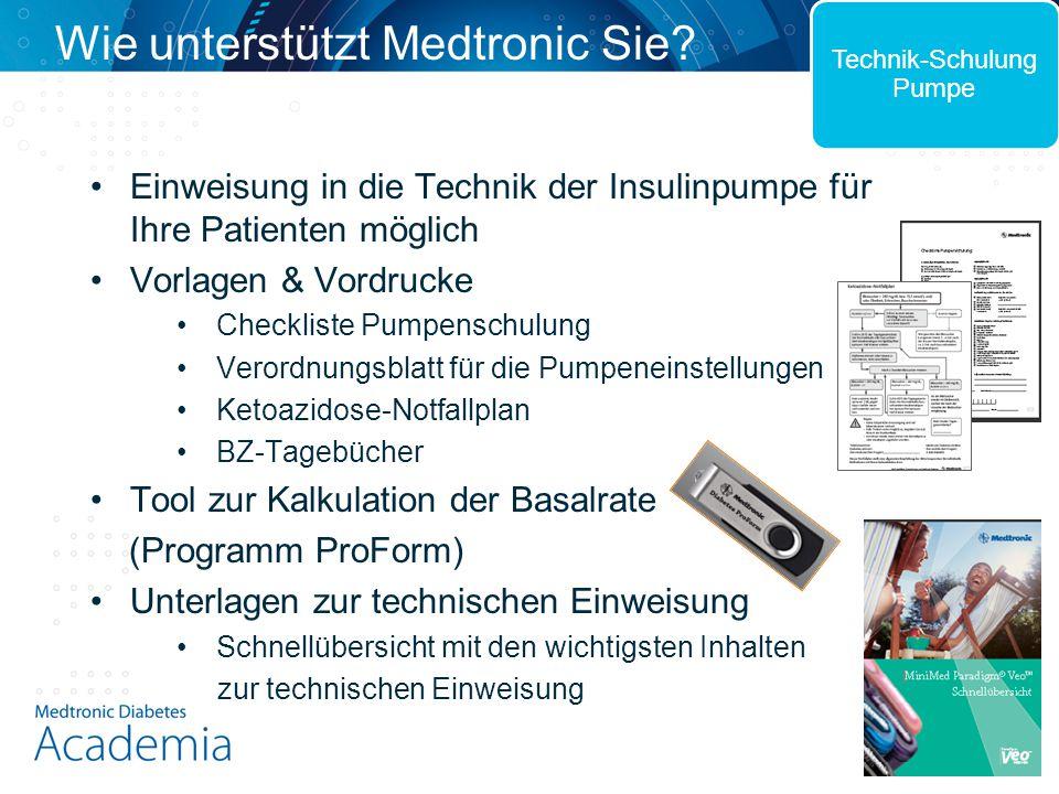 Einweisung in die Technik der Insulinpumpe für Ihre Patienten möglich Vorlagen & Vordrucke Checkliste Pumpenschulung Verordnungsblatt für die Pumpenei