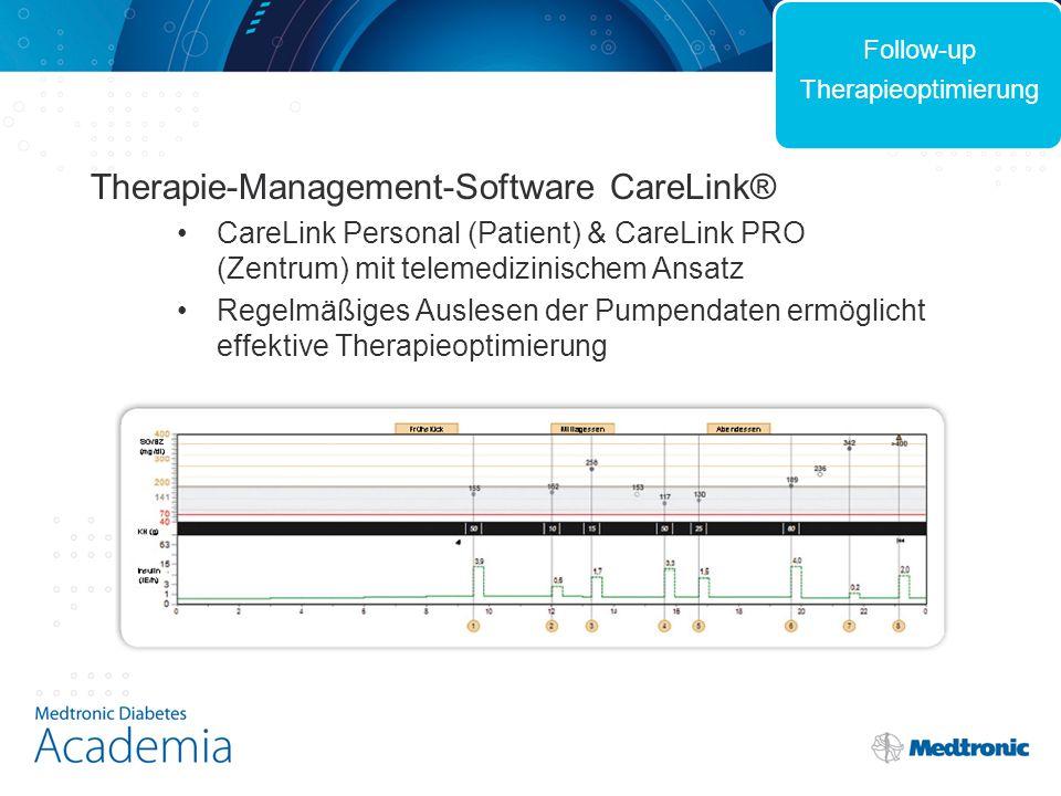 Therapie-Management-Software CareLink® CareLink Personal (Patient) & CareLink PRO (Zentrum) mit telemedizinischem Ansatz Regelmäßiges Auslesen der Pumpendaten ermöglicht effektive Therapieoptimierung Follow-up Therapieoptimierung
