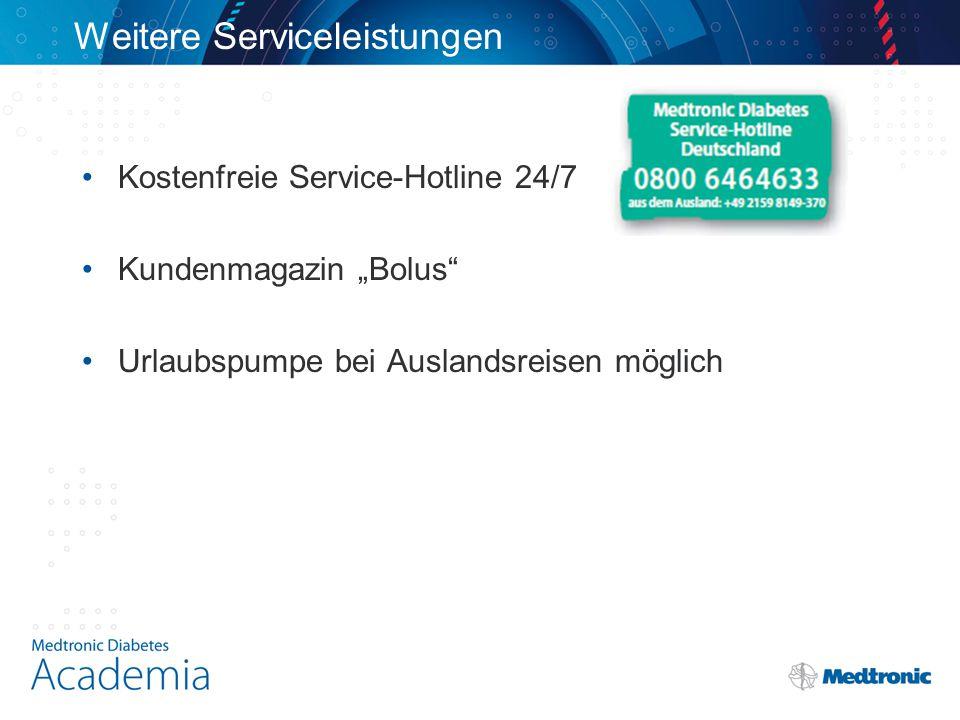 """Weitere Serviceleistungen Kostenfreie Service-Hotline 24/7 Kundenmagazin """"Bolus Urlaubspumpe bei Auslandsreisen möglich"""