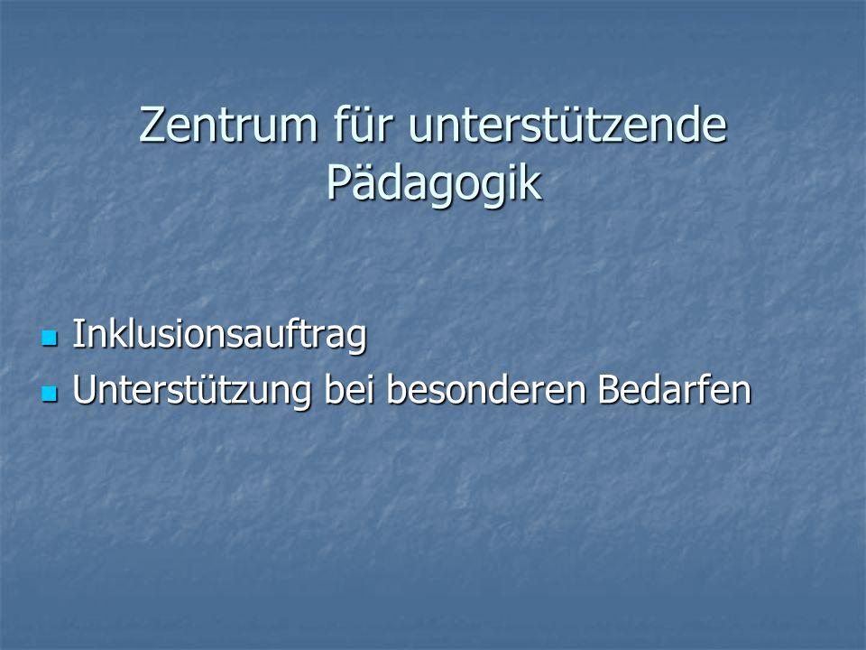 Zentrum für unterstützende Pädagogik Inklusionsauftrag Inklusionsauftrag Unterstützung bei besonderen Bedarfen Unterstützung bei besonderen Bedarfen