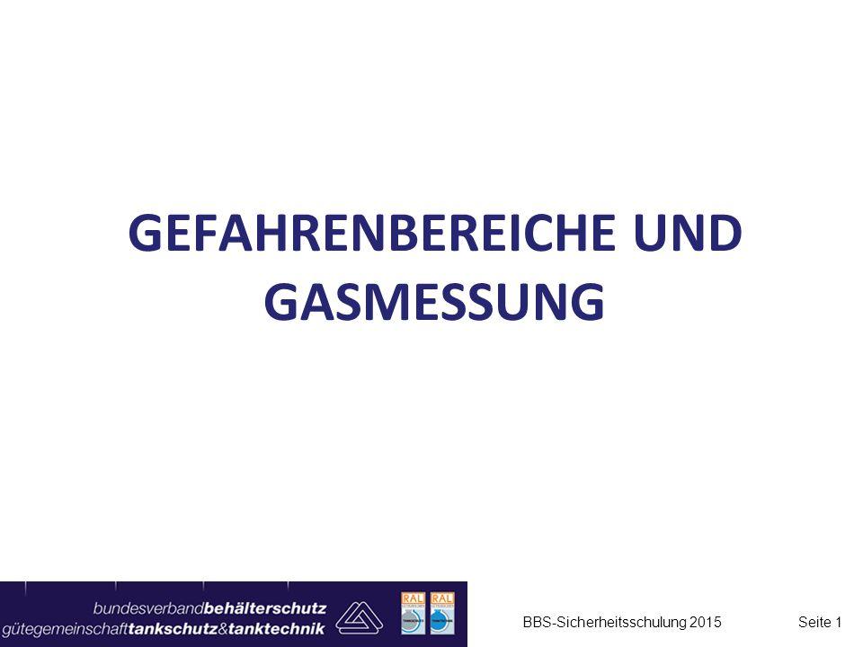 GEFAHRENBEREICHE UND GASMESSUNG BBS-Sicherheitsschulung 2015 Seite 1