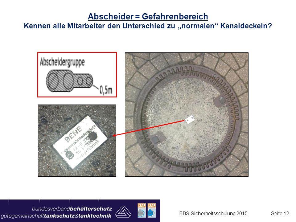 """Abscheider = Gefahrenbereich Kennen alle Mitarbeiter den Unterschied zu """"normalen"""" Kanaldeckeln? BBS-Sicherheitsschulung 2015 Seite 12"""