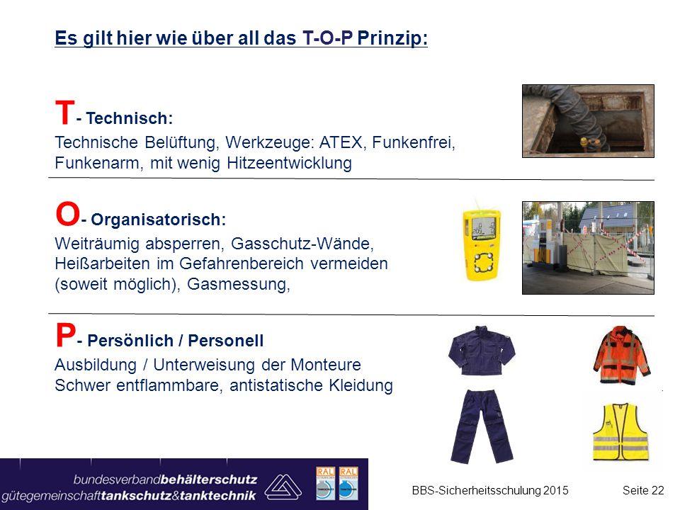 Es gilt hier wie über all das T-O-P Prinzip: T - Technisch: Technische Belüftung, Werkzeuge: ATEX, Funkenfrei, Funkenarm, mit wenig Hitzeentwicklung O