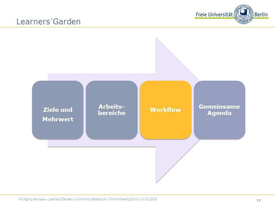 13 Learners´Garden Ziele und Mehrwert Arbeits- bereiche Workflow Gemeinsame Agenda Wolfgang Neuhaus – Learners´Garden – Community-Redaktion – Online-Meeting 09.01 – 21.10.2009
