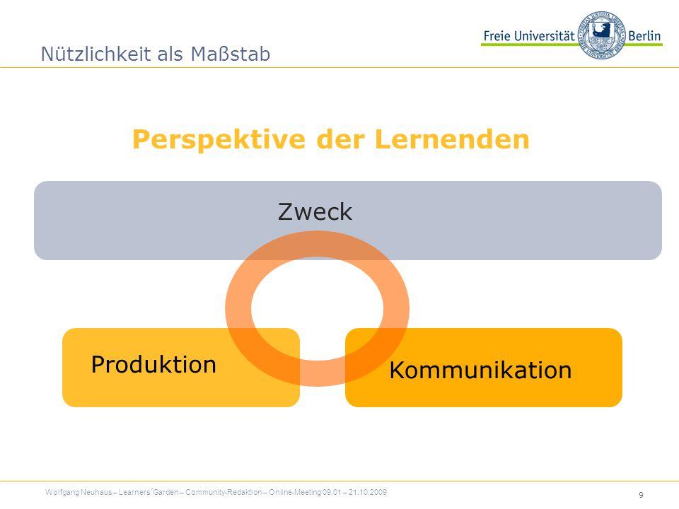 9 Nützlichkeit als Maßstab Zweck Wolfgang Neuhaus – Learners´Garden – Community-Redaktion – Online-Meeting 09.01 – 21.10.2009 Produktion Kommunikation Perspektive der Lernenden
