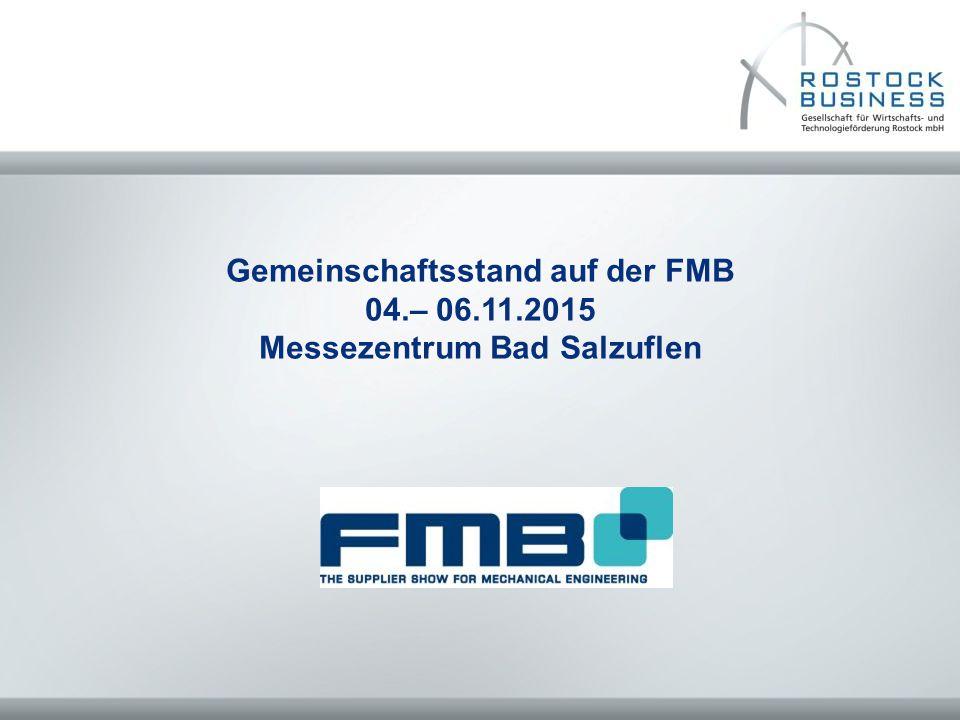 Gemeinschaftsstand auf der FMB 04.– 06.11.2015 Messezentrum Bad Salzuflen