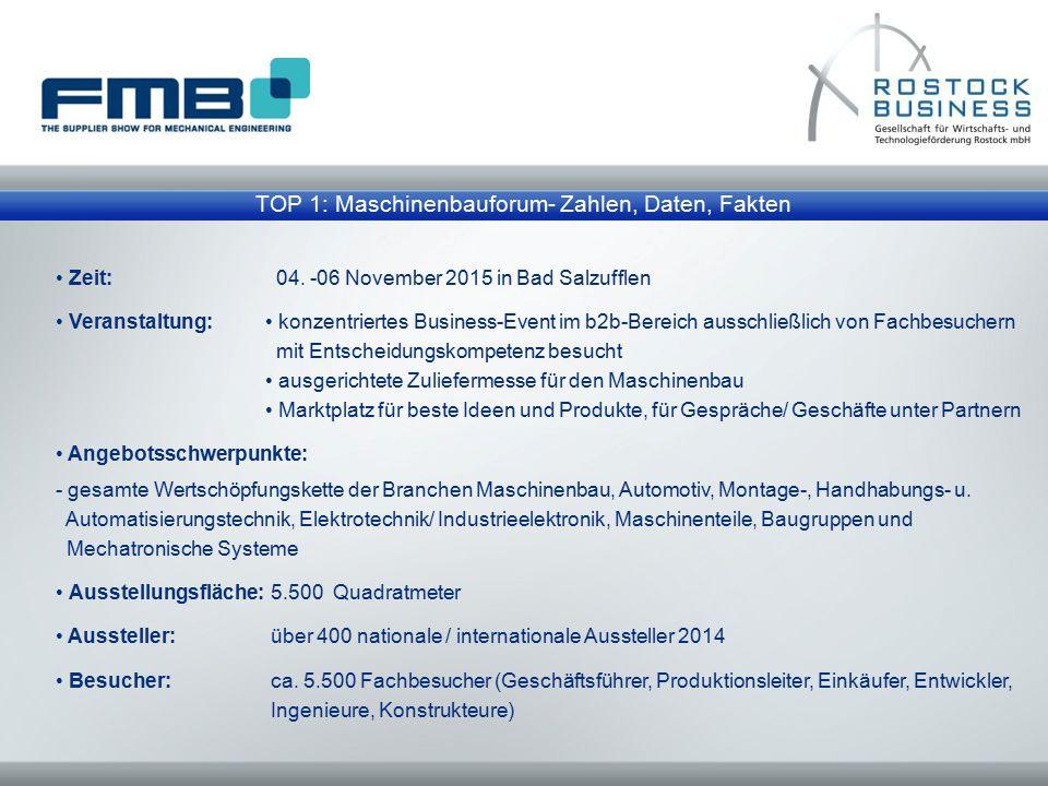 TOP 1: Maschinenbauforum- Zahlen, Daten, Fakten Zeit: 04. -06 November 2015 in Bad Salzufflen Veranstaltung: konzentriertes Business-Event im b2b-Bere