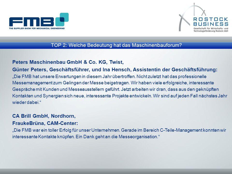 """Peters Maschinenbau GmbH & Co. KG, Twist, Günter Peters, Geschäftsführer, und Ina Hensch, Assistentin der Geschäftsführung: """"Die FMB hat unsere Erwart"""