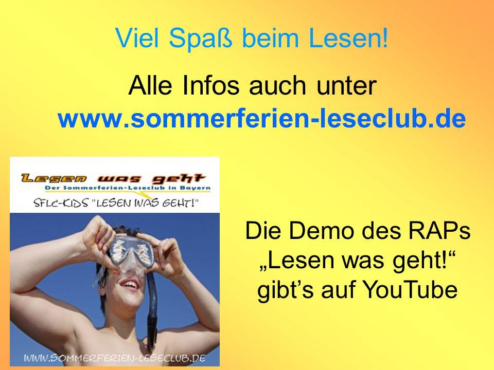 """Viel Spaß beim Lesen! Alle Infos auch unter www.sommerferien-leseclub.de Die Demo des RAPs """"Lesen was geht!"""" gibt's auf YouTube"""